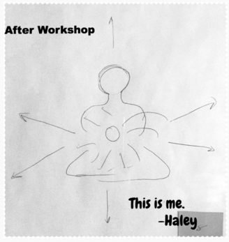 A drawing showing Haley's self visual meditation.